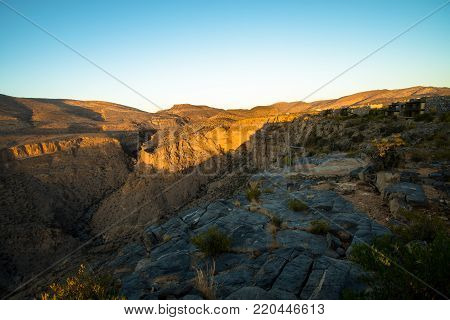 Sunset Oman Mountains At Jabal Akhdar In Al Hajar Mountains