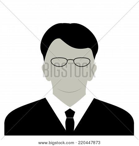 Profile anonymous face icon. Gray silhouette person. Male businessman profile default avatar. Photo placeholder. Isolated on white background. Vector illustration poster