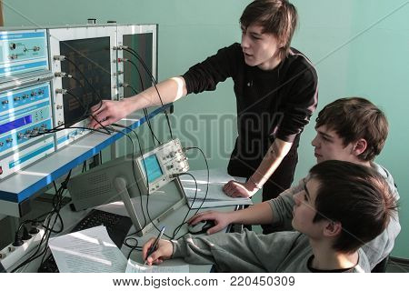 St. Petersburg, Russia - February 16, 2012: Electrotechnical College Of Municipal Economy. Students