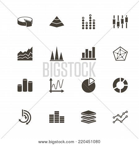 Diagram Graphs icons. Perfect black pictogram on white background. Flat simple vector icon.