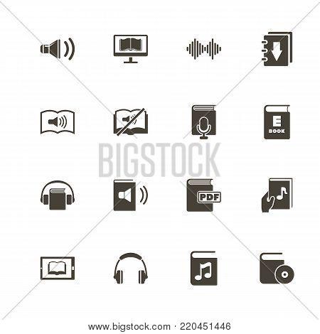 Ebooks icons. Perfect black pictogram on white background. Flat simple vector icon.