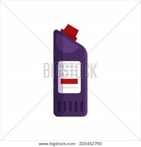 Purple plastic bottle isolated on white background. Cleaning service logo, laundry detergent and disinfectant products, cleaner for toilet, bath - flat vector illustration.