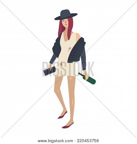 Drunk young woman dressed in stylish dirty and torn clothes and holding bottle of wine. Female cartoon character with alcohol abuse, dependence or addiction. Flat colorful vector illustration