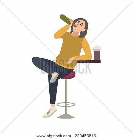 Young man sitting on stool at bar and drinking beer from bottle. Male cartoon character with alcohol abuse isolated on white background. Alcoholic or drunkard. Flat colorful vector illustration