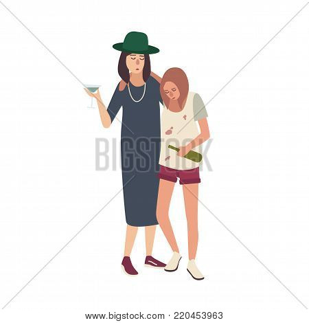 Pair of drunk girls dressed in messy clothes. Young women drinking alcohol isolated on white background. Female cartoon characters with heavy alcohol addiction. Flat colorful vector illustration