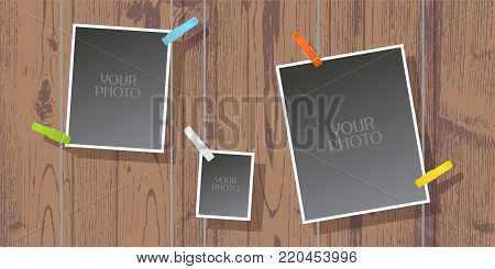 Collage of photo frames vector illustration, background. Design element of textured wall and templates for photo and pictures insertion with pins