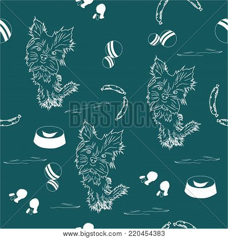 small, beautiful, cute dogs and food. children's pattern of white, favorite dogs on shaded spruce background.
