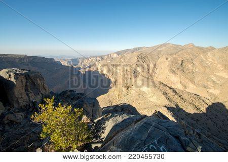 Sunset Oman Mountains At Jabal Akhdar In Al Hajar Mountains