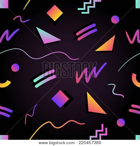 Retro futuristic seamless pattern with gradient colored squares, triangles, circles, zigzag and curved lines on black background. Vector illustration in 1980s style for wrapping paper, fabric print