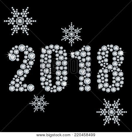 The crystals 2018 year from diamond on a black background and snowflakes