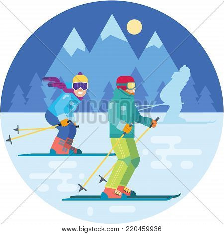 Cartoon skies in the mountains vector illustration. Skiing sportsman characters in motion in ski suits . Smiling men on skis.