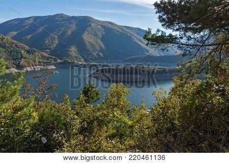 Amazing Autumn landscape of Meander of Vacha (Antonivanovtsy) Reservoir, Rhodopes Mountain, Bulgaria