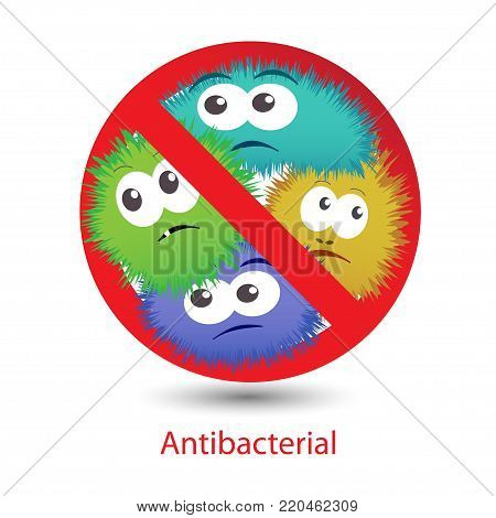 Antibacterial sign with funny colorful cartoon bacteria. Vector illustration
