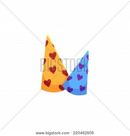 Two birthday, Christmas party hats, cartoon vector illustration isolated on white background. Cartoon style birthday, Christmas party hats with heart pattern