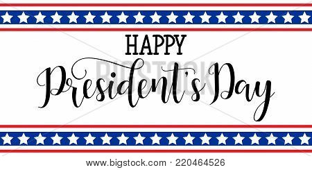 Happy President's Day hand lettering, american holiday design vector illustration