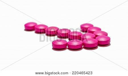 Pink and gold medicines for various diseases.