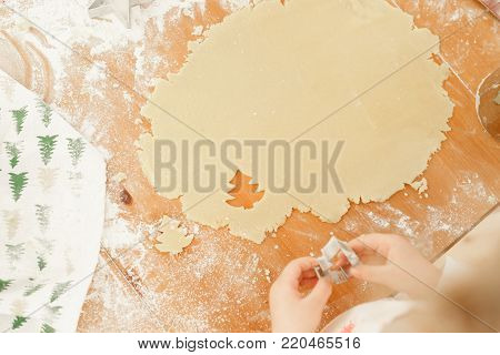 Child s hands make cookies from dough, uses cookie cutter in shape of firtree, prepares for winter holidays, bakes delicious dessert on Christmas, helps parents. Kid cutts out shapes from pastry