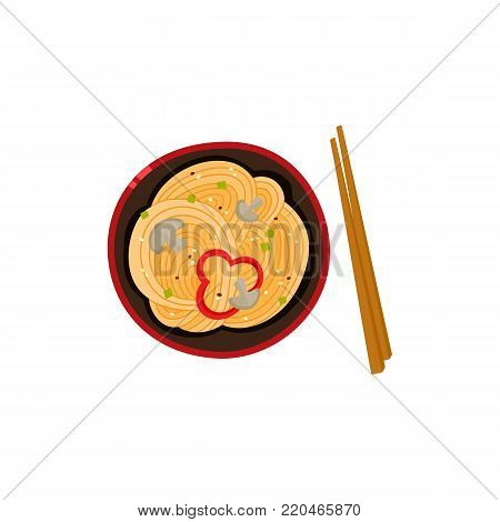 vector flat asian wok udon noodles with sliced pepper, mushrooms in ceramic pot with bamboo sticks top view. Stir fry eastern fastfood icon for menu design. Isolated illustration on white background