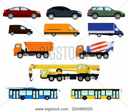 Set of different car, vehicle and truck. Passenger car, delivery vehicle, construction truck and city public transport. Isolated on white background. Vector illustration.