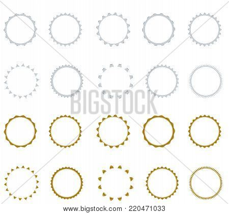Set of vector starburst, sunburst badges.  Simple flat style. Vintage labels. Round vignette, frame Design elements. Colored stickers. A collection of different types and colors icon.