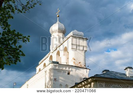 Veliky Novgorod, Russia. The belfry of St Sophia Cathedral at sunset in Novgorod Veliky, Russia, closeup view. Veliky Novgorod Russia orthodox landmark