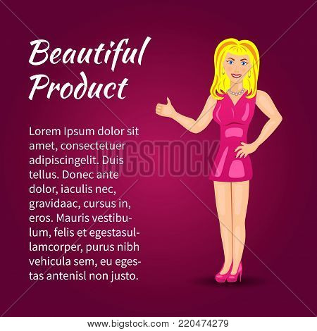 Blue-eyed blonde in a pink dress shows thumb up. Vector illustration.