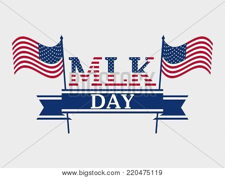 Martin Luther King Day. Star With Flag Usa. Holiday Background With Rays. Vector Illustration