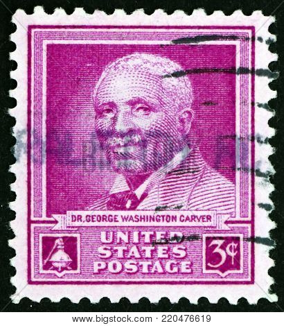 USA - CIRCA 1948: a stamp printed in the USA shows Dr. George Washington Carver, scientist, circa 1948
