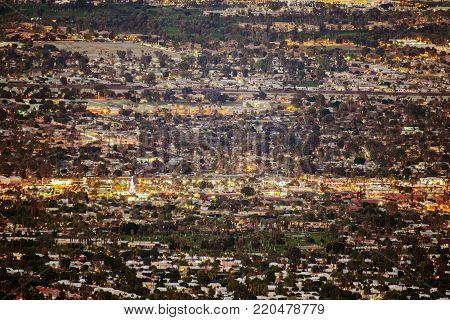 Panorama of the Palm Desert, California, United States of America. Evening Cityscape. Coachella Valley.