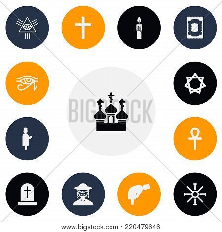 Set of 13 editable religion icons. Includes symbols such as david star, islamic pray, eye of providence and more. Can be used for web, mobile, UI and infographic design.