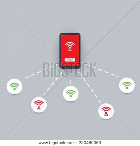 Unsecured Public Wireless Hotspots Design - Wifi Security Breaches, Business, Technology Cybercrime Concept - Vector Illustration