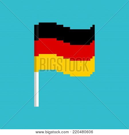 Pixel flag Germany. Pixelated banner German. political bit icon. Vector illustration