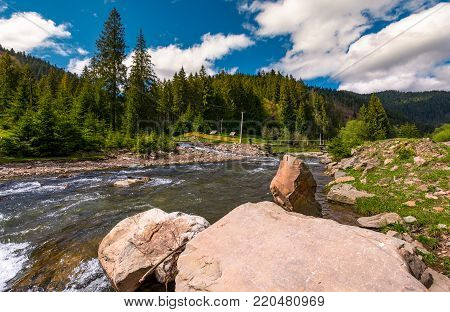 mountain river in springtime. beautiful scenery with spruce forest on a rocky shore. camping place and wooden bridge in the distance.