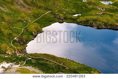 glacier on a summer day. lovely nature scenery view from above. beautiful background