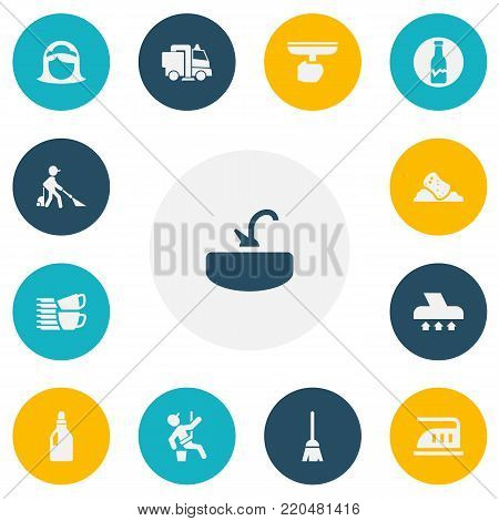 Set of 13 editable cleanup icons. Includes symbols such as washing liquid, sweeping machine, sink and more. Can be used for web, mobile, UI and infographic design.