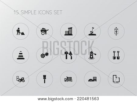 Set of 15 editable building icons. Includes symbols such as hammer and trowel, cargo transportation, lighthouse. Can be used for web, mobile, UI and infographic design.