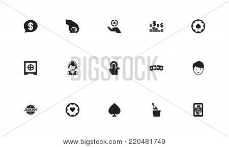 Set of 15 editable gambling icons. Includes symbols such as spades, jack card, hotline and more. Can be used for web, mobile, UI and infographic design.