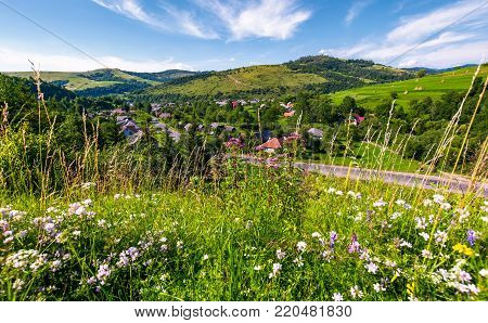 beautiful rural landscape in summertime. village along the road and fields with haystacks on hills. view from the grassy slope with wild herbs. nice weather with blue sky and some clouds