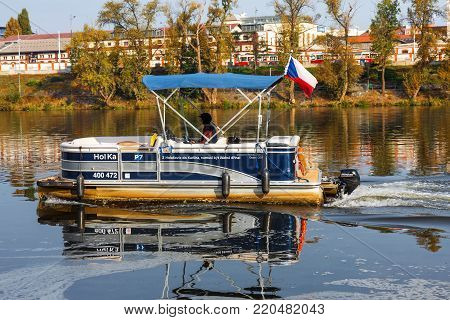 PRAGUE - October 1: Ferry Hol Ka transports passengers from district Karlin to district Holesovice on October 1, 2017 on Vltava river.