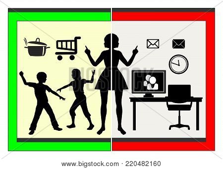 Compatibility of Family and Career. Stressed mother in charge of housekeeping and job at the same time
