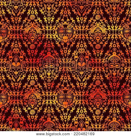 Hand drawn seamless pattern with Tribal mask ethnic. Sketch for your design, wallaper, textile, print. African culture. Fabric afro ornament. Coloful batik art. Watercolor orange on dark background