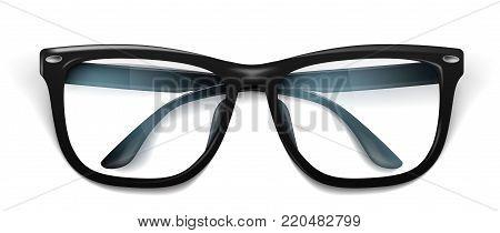 Vector realistic eyeglasses, spectacles mockup. Elegant black fashionable square frame semitransparent lens reflection. Office, geek optical eyewear accessory. Isolated illustration, white background