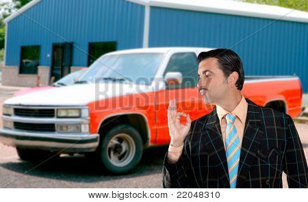 car used salesperson selling old car as brand new  typical topic salesman with hand ok gesture poster
