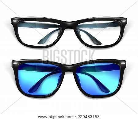 Vector realistic eyeglasses, sunglasses mockup. Elegant black fashionable square frame semi transparent office, geek optical lens reflection, blue sunglasses. eyewear accessory. Isolated illustration