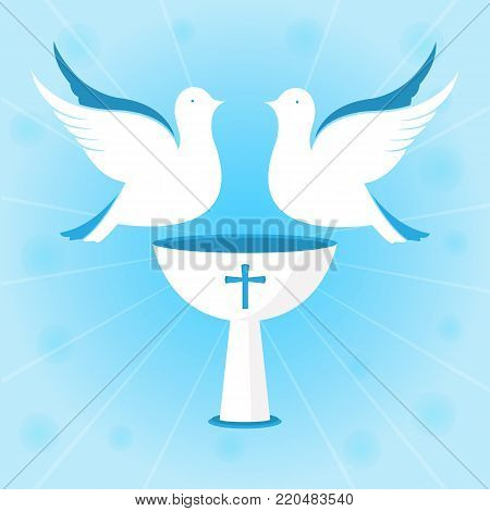 A couple of white pigeons are hovering over the chalice. Baptism of Jesus. Design for christening ceremony