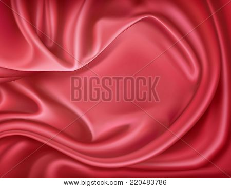 Vector luxury realistic red silk, satin drape textile background. Elegant fabric shiny smooth material with waves. Illustration for celebration, ceremony or event invitation card, symbol of elegance
