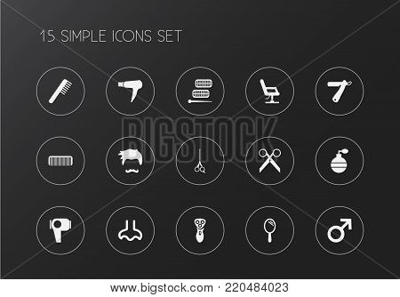 Set of 15 editable barbershop icons. Includes symbols such as clippers, comb, hair roller and more. Can be used for web, mobile, UI and infographic design.