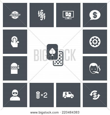 Set of 13 editable gambling icons. Includes symbols such as slot machine, poker money, jackpot and more. Can be used for web, mobile, UI and infographic design.