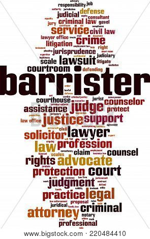 Barrister word cloud concept. Vector illustration on white