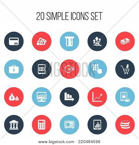 Set of 20 editable banking icons. Includes symbols such as market, e-commerce, diagram and more. Can be used for web, mobile, UI and infographic design.